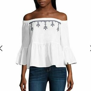 Off Shoulder Top Blouse White Size Small
